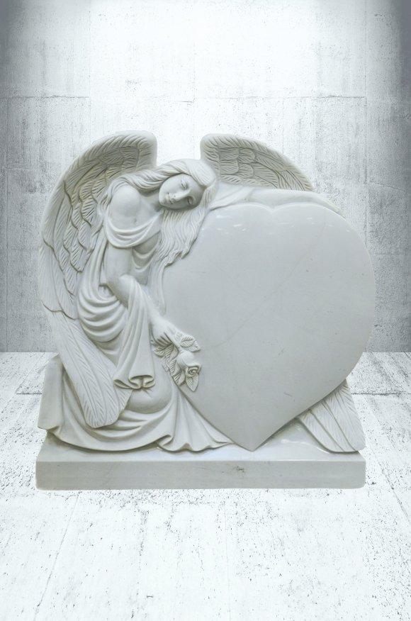 EX 1260 weiáer Marmor mit handwerklichem Engel
